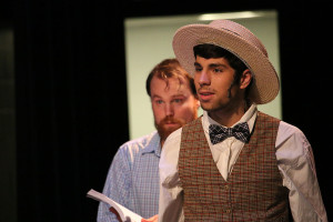 During theater rehearsal, senior Antonio Esposito goes over his lines for the show. Esposito has been in theater since his freshman year.
