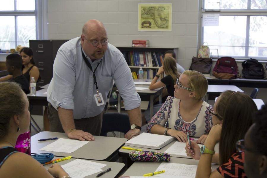William Bordelon helps students during class. This is Bordelon's first year teaching at Hagerty.