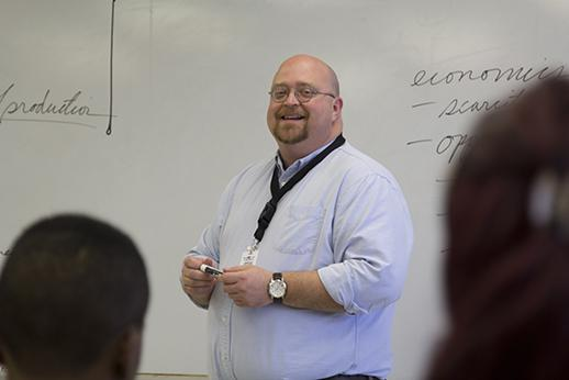 Bordelon teaches by asking his students questions throughout the class period and helping them figure out the answer. He is in his seventh year of teaching.