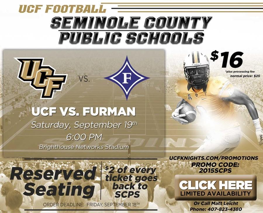 UCF Athletics and the Foundation for Seminole County Schools worked together to advertise the promotion.  This poster was designed by UCF Athletics for the Foundation to use.