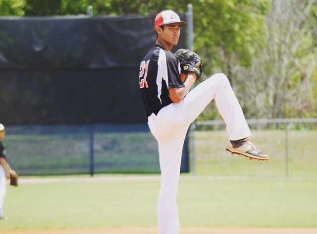 Freshman Riley Greene pitches for his eighth grade travel team, the Oviedo Outlaws. Greene pitched the most innings and strikeouts that year and is the only Outlaw to be already committed.