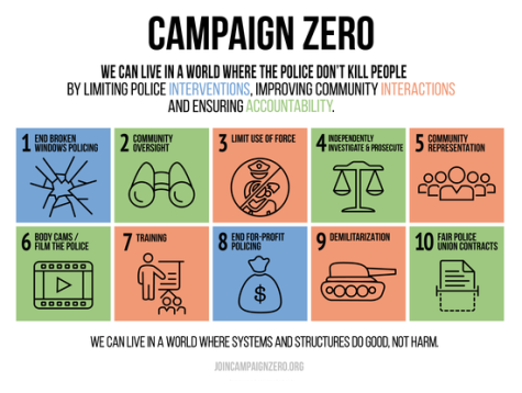 Campaign Zero was launched by Deray McKesson and other activists earlier this year as a solution to end police brutality. You can learn more at http://www.joincampaignzero.org/#vision.