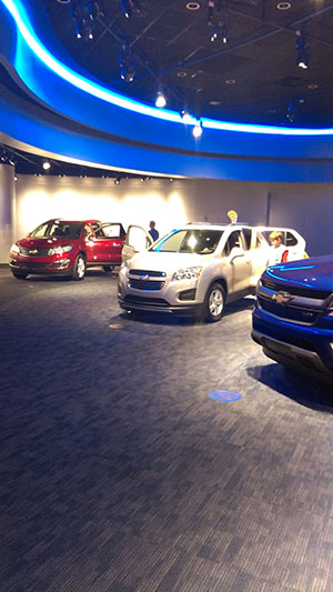 In a Chevrolet showroom outside of the indoor ride Test Track, the most innovative designs are on display.