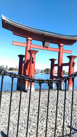 Epcot takes inspiration from Japanese architecture with a torii gate constructed in the style of the real world Itsukushima Shrine of Japan.
