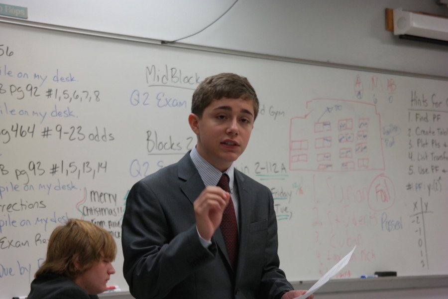 Freshman Michael McNamara competes during congressional debate, in which he was awarded Best Novice in his respective chamber.