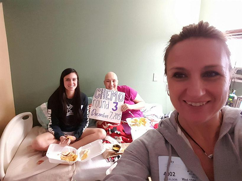 12/9/15- Mother Melissa Baltz takes a selfie with Kelsey and her best friend Brooke Heldreth on the day Kelsey's third round of chemo.