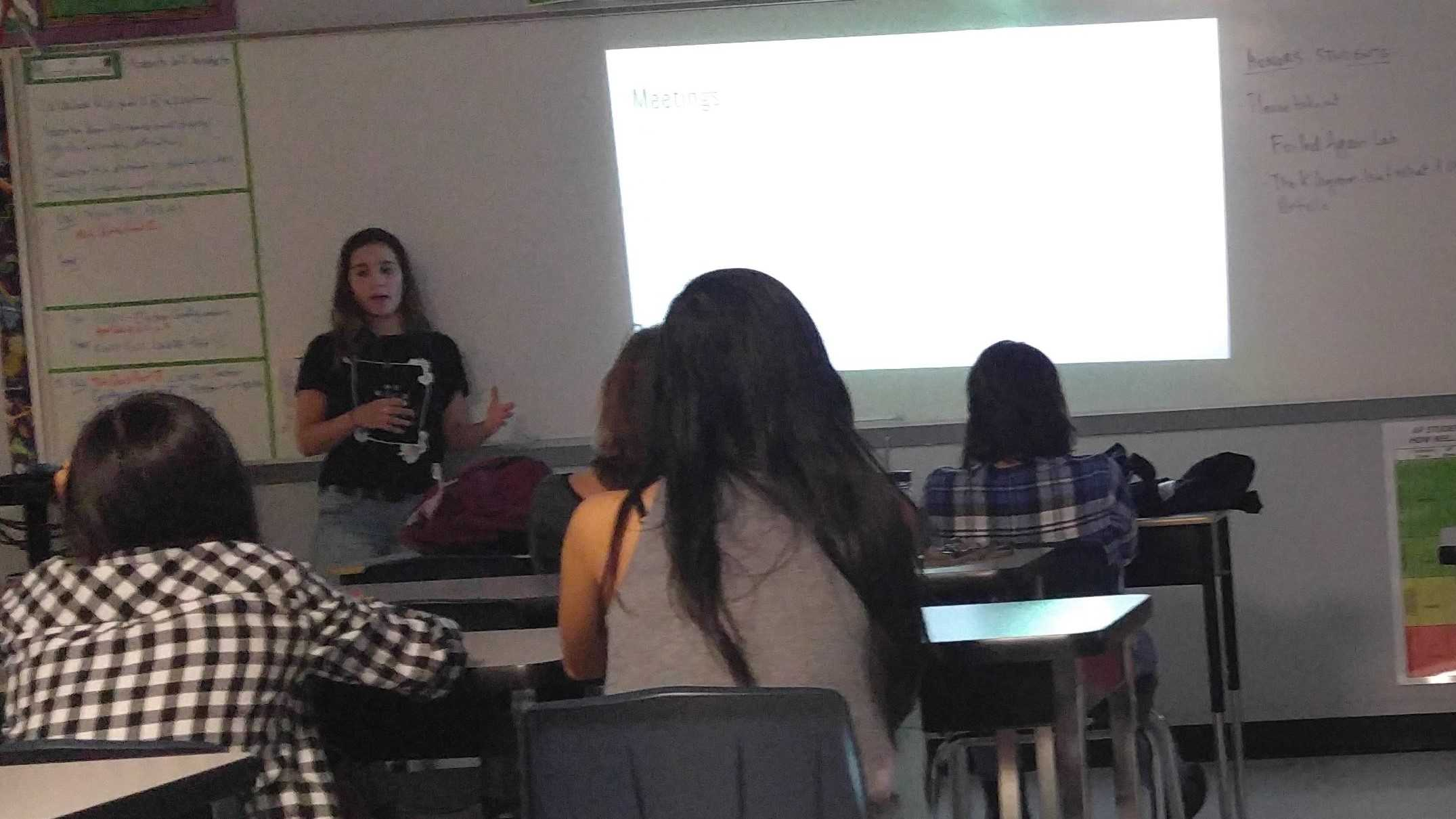 The co-president of the girl up club explains when the club's future meetings will take place.