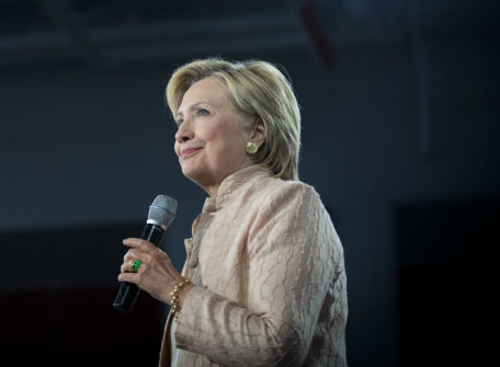 Hillary Clinton speaks on the campaign trail. She will appear in the first general election at Hofstra University on Sept. 26.