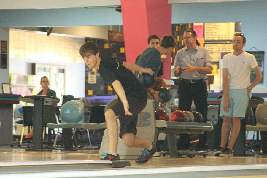 Senior Ryan Sarecevic gets ready to bowl against Lyman. The team won 2277-2264.