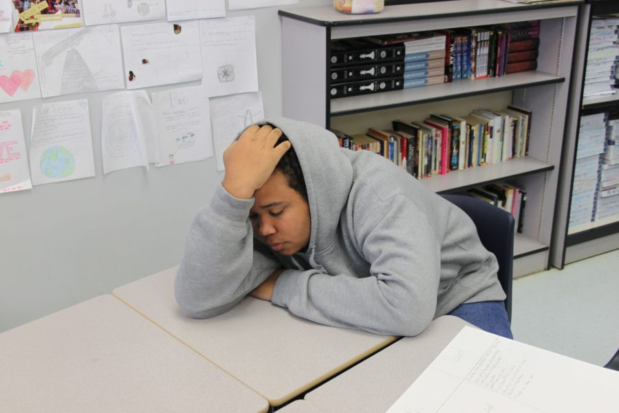 Sophomore+Donovan+Doricent+takes+a+nap+during+English+class.+Some+students+tend+to+take+naps+during+school+to+prevent+losing+time+after+school.