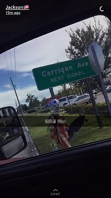 Sophomore Geno Simmons spotted as a clown on Carrigan Avenue.