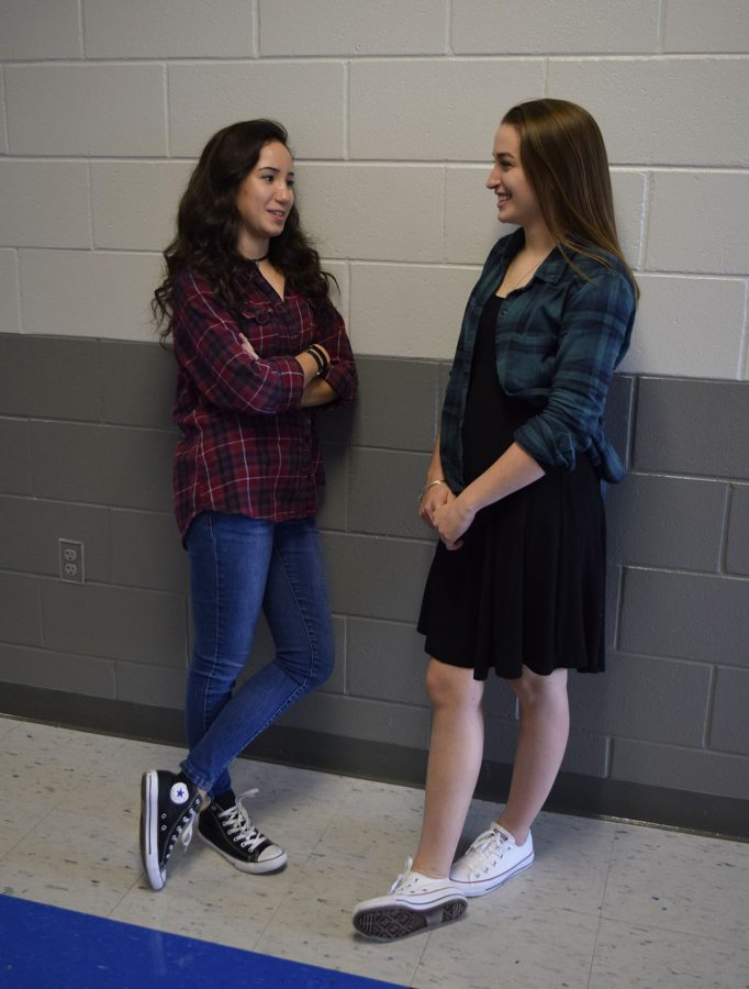 As seniors Sarah Halverson and Julia Dansereau flaunt their flannel shirts and chokers, some teachers have noticed that more and more students are  wearing these trends and are forced to consider the possibility that maybe the '90s never left at all.