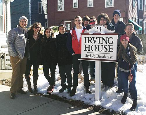 Debate club members visit the Irving House. Ten members of the club attended the trip and decided to stay at the Irving House because of it's location.