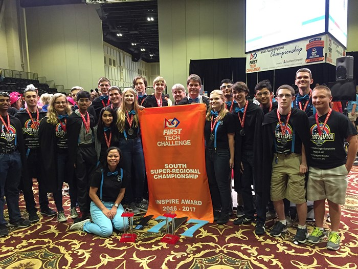 Team 4717, the Mechromancers are awarded the Inspire Award, the Winning Alliance Captain Award, the Second place Innovate Award and the Third place Design Award at the South Super Regional National Competition in Athens, Georgia from March 23-25.
