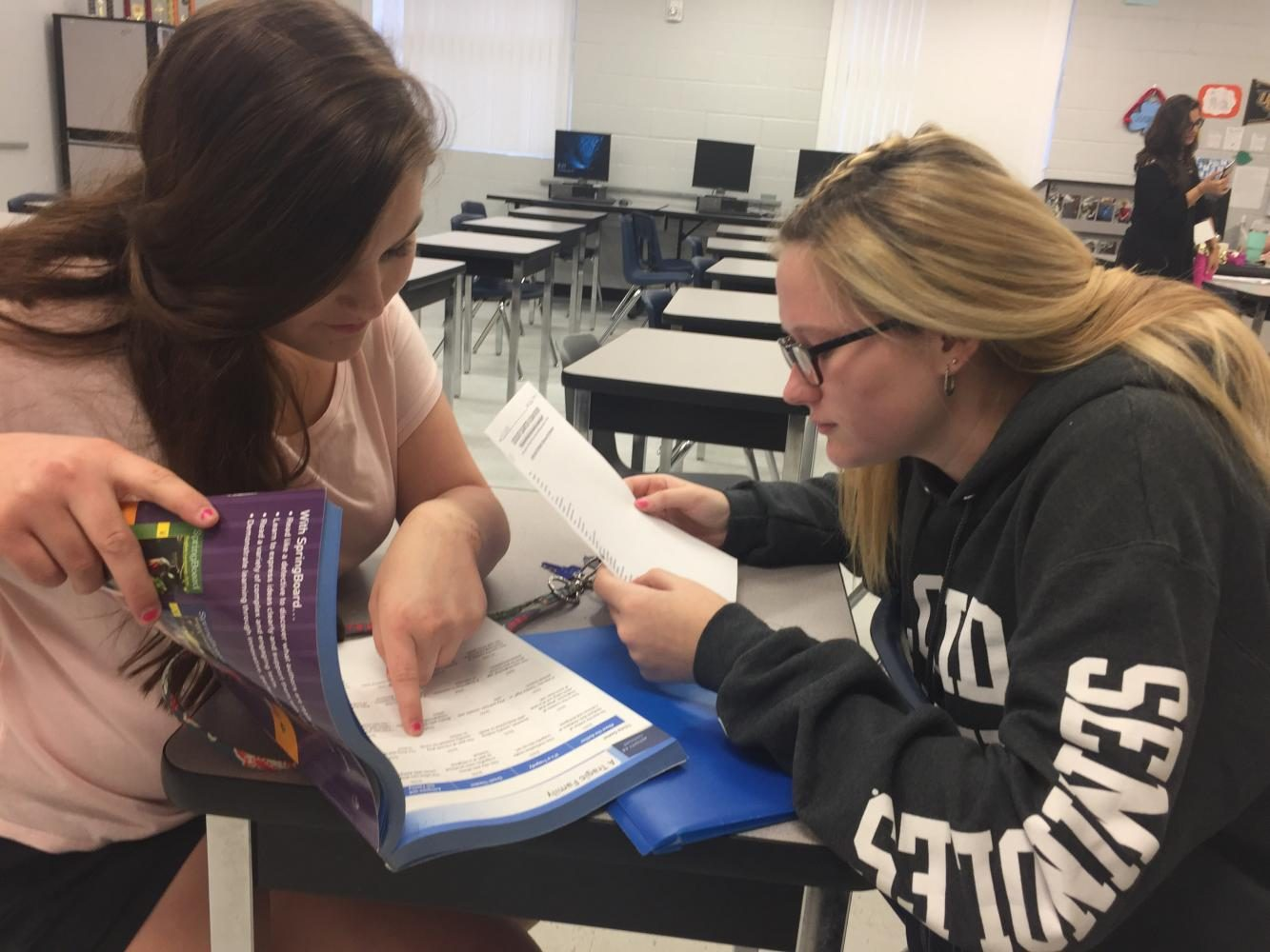 Sophmore Jacq'lene Rosu and Olivia Eldridge study for their English exam in English II teacher Sarah Jarem's room.  Rosu tends to bring a study partner with her during her study time.