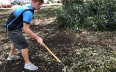 Sophomore DJ McCunney cleans up fallen tree branches in Orange County Academy. Along with three other friends, McCunney decided to help out the community after seeing all the damage caused by Irma.
