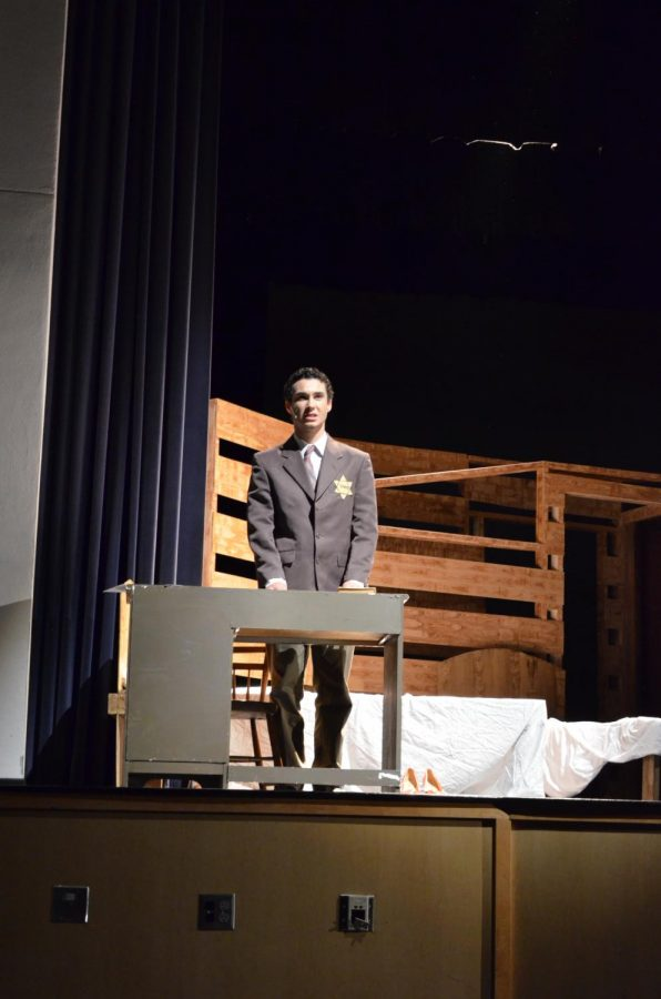 Otto Frank, played by Tsompanidis, describes the death of each person hiding in