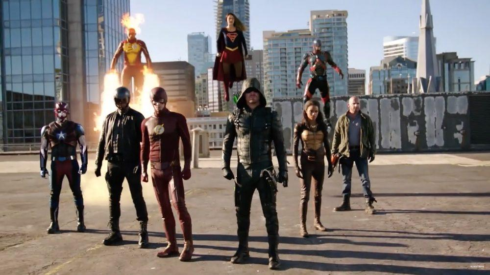 Many heroes of the Arrowverse face off against their latest foe during last year's crossover event.  Top (Left to right): Firestorm (Franz Drameh), Supergirl (Melissa Benoist), and The Atom (Brandon Routh) Bottom (Left to right): Citizen Steel (Nick Zano), Spartan (David Ramsey), The Flash (Grant Gustin), The Green Arrow (Stephen Amell), Vixen (Maise Richardson-Sellers), and Heatwave (Dominic Purcell).