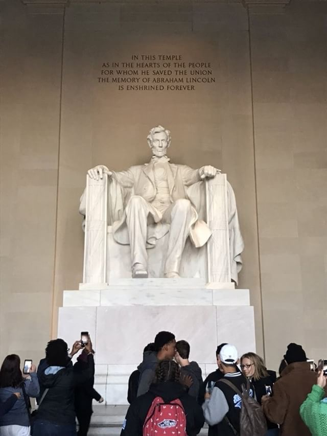 The inside of the Lincoln Memorial contains a giant statue of Abraham Lincoln. It stands 99 feet tall.