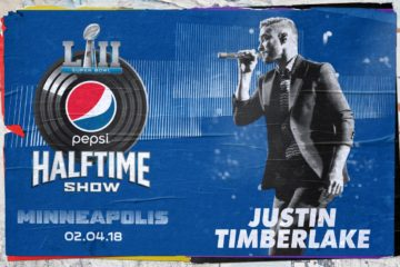 A poster promoting Timberlake's performance at the Super Bowl LII halftime show.