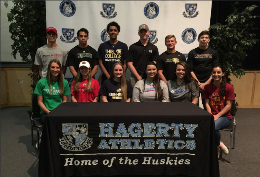 12+seniors+participated+in+NCAA+signing+day.+This+day+is+a+chance+for+the+school+to+recognize+athletes+who+will+play+sports+in+college.+