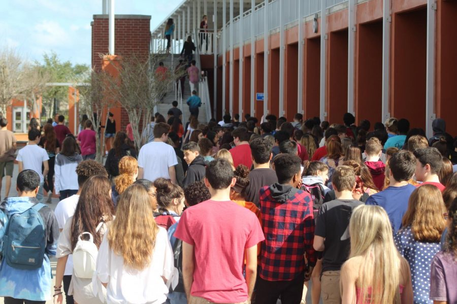 Students walk back to class after the first school walk out. The walk out was held on Wednesday, Feb. 21 and lasted 17 minutes which honored the 17 victims of the Parkland shooting