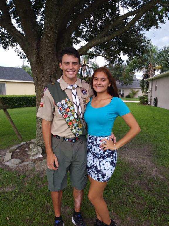 Strickle poses with his girlfriend, senior Selena Hood, after receiving the rank Eagle Scout.