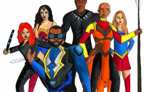 The pioneering African American and female characters of the superhero genre. (From left to right: Black Widow, Wonder Woman, Black Lightning, Black Panther, Okoye, and Supergirl.)  Illustration by Sydney Crouch