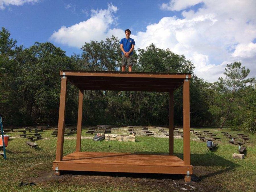 Strickle shows off the stage he built for the girl scout camp Mah-Kah-Wee. This was the community service project Strickle chose to do.