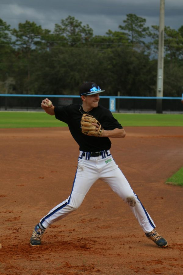 Third+baseman+Jackson+Grabsky+throws+the+ball+at+baseball+tryouts.+Grabsky+had+a+hit+and+two+runs+in+the+game+over+Oviedo.+