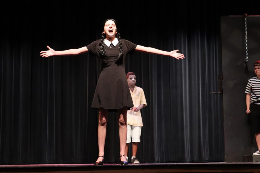 Senior Emma Matzinger plays the character Wednesday. This is the eighth show she has been involved in.