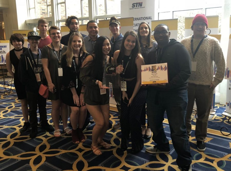 Juniors+Katie+Carlson+and+Kali+Jobs+%28front+center%29+were+part+of+the+group+of+TV+Production+students+to+win+the+Silent+Film+Competition+at+the+Student+Television+Network+conference+in+Nashville%2C+Tennessee.