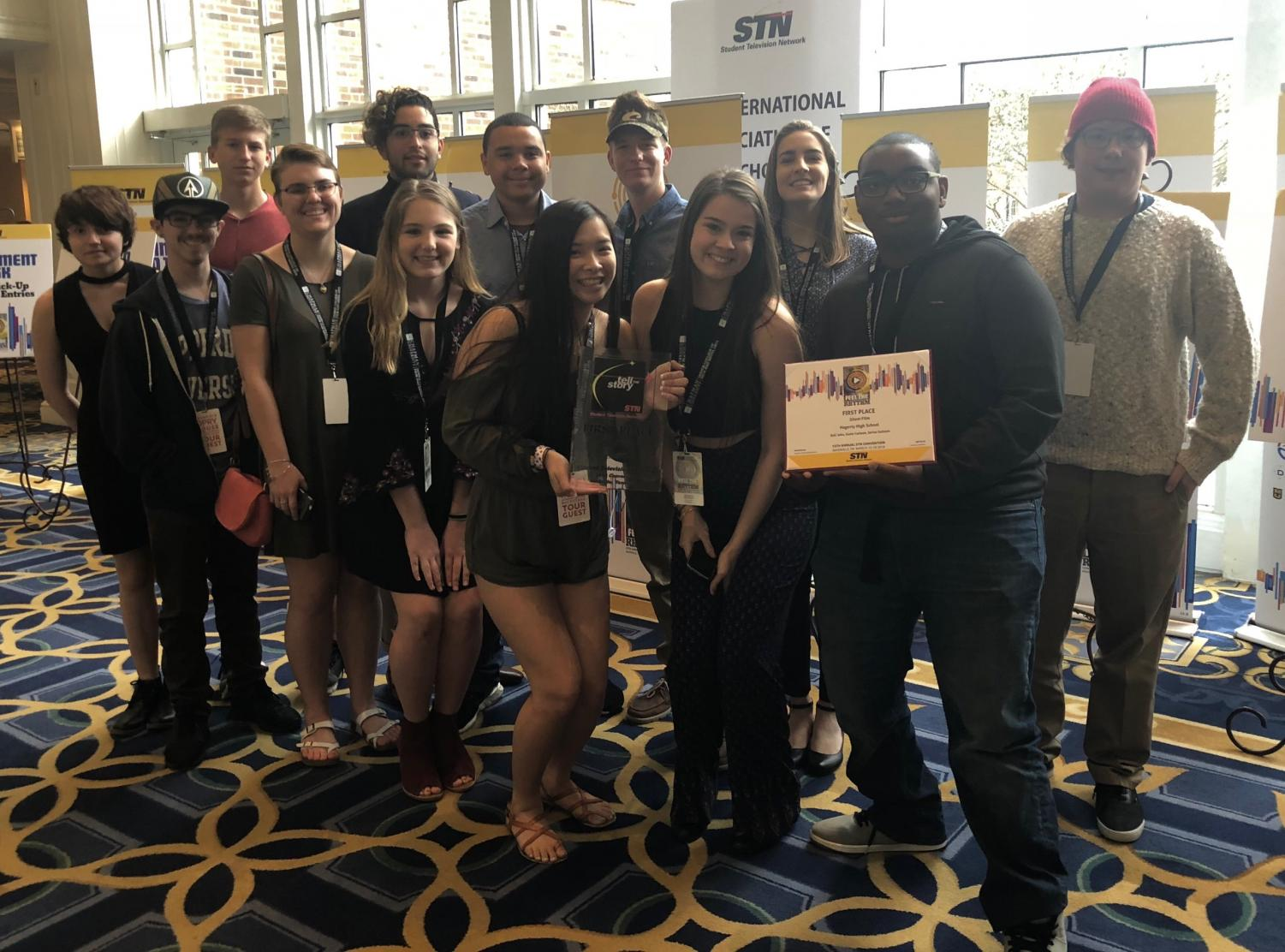 Juniors Katie Carlson and Kali Jobs (front center) were part of the group of TV Production students to win the Silent Film Competition at the Student Television Network conference in Nashville, Tennessee.