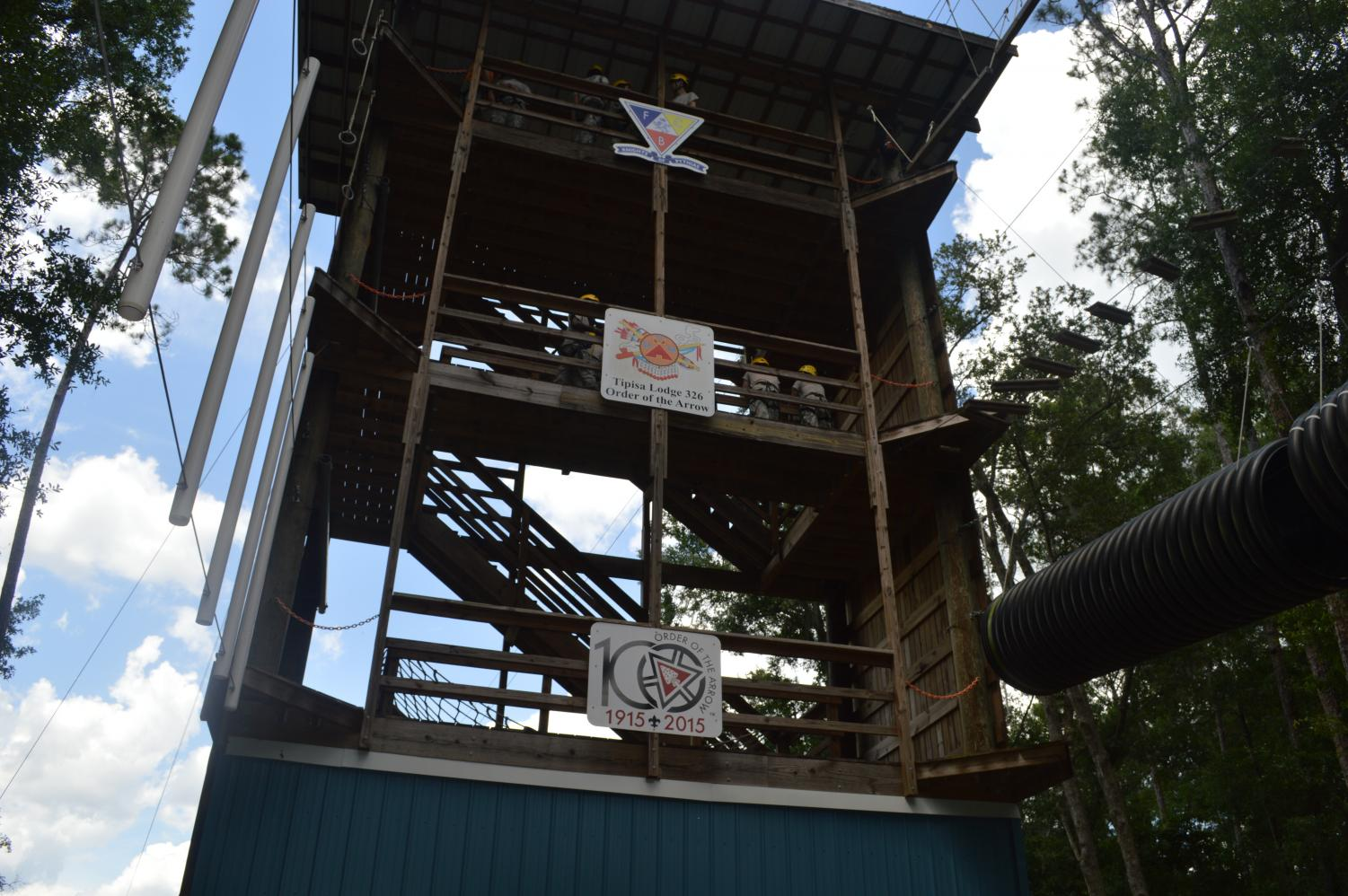 The repelling tower is a wall where cadets repel off a wall or zip line. In order to pass JCLC, cadets have to repel off the wall.