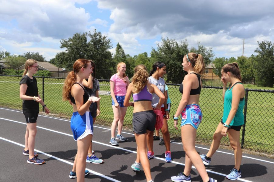 The girls cross country team
