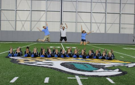 Colorguard performs at Jaguars Falcons game