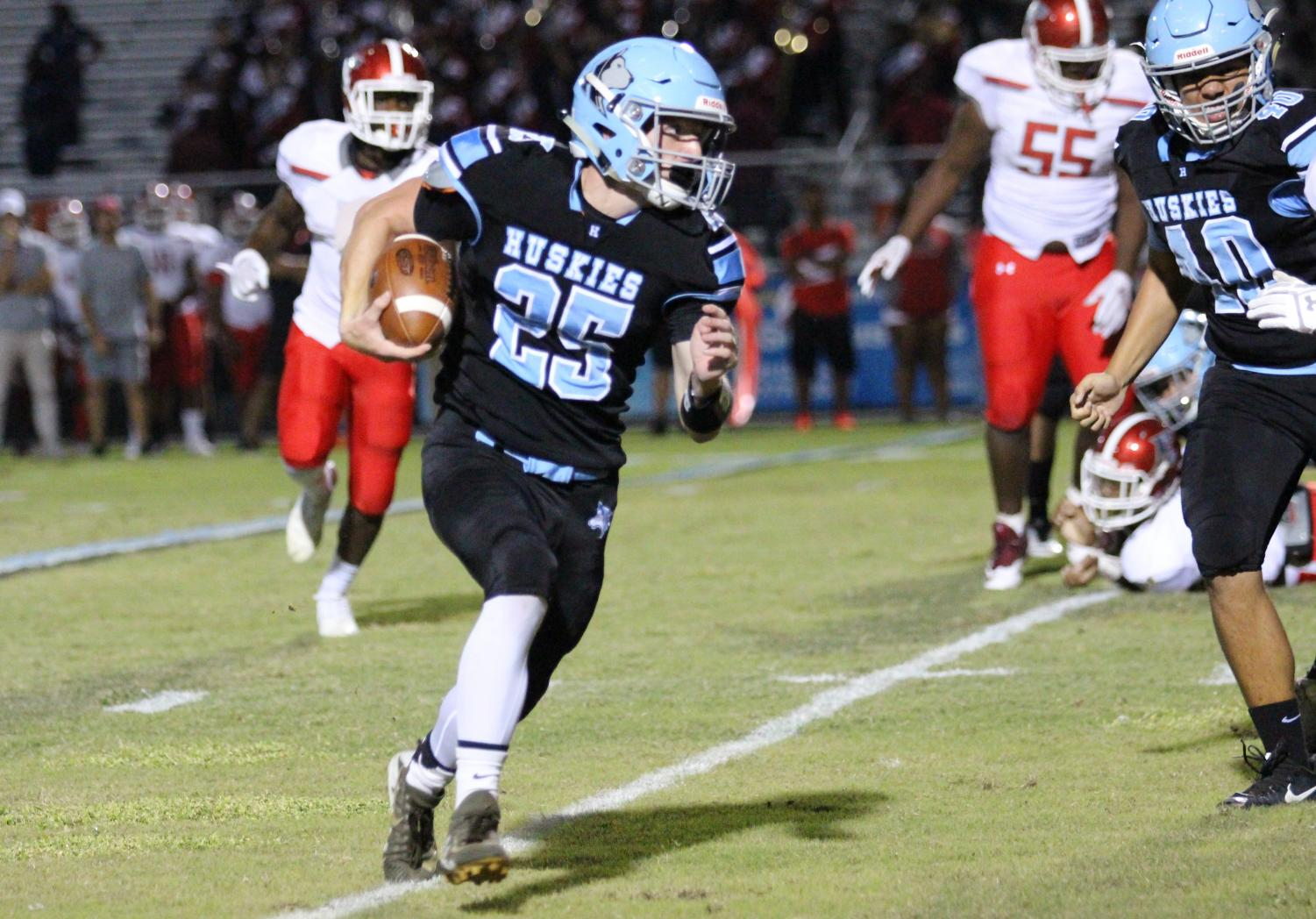 Wingback D.J. McCunney rushed for 38 yards on 9 carries in the varsity team's 31-15 Homecoming victory over Edgewater.