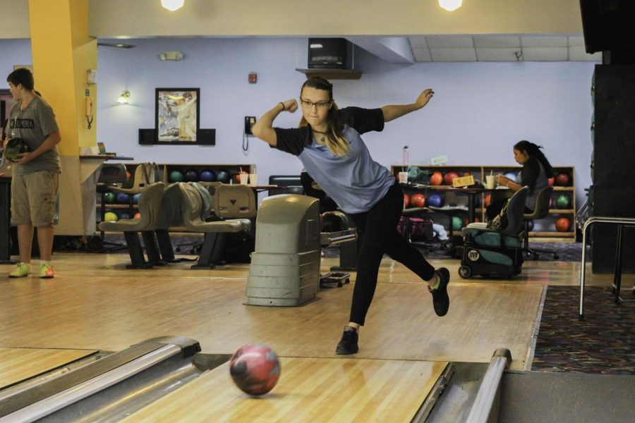Senior Sabrina Dishman practices at Oviedo Bowling Lanes during the regular season.