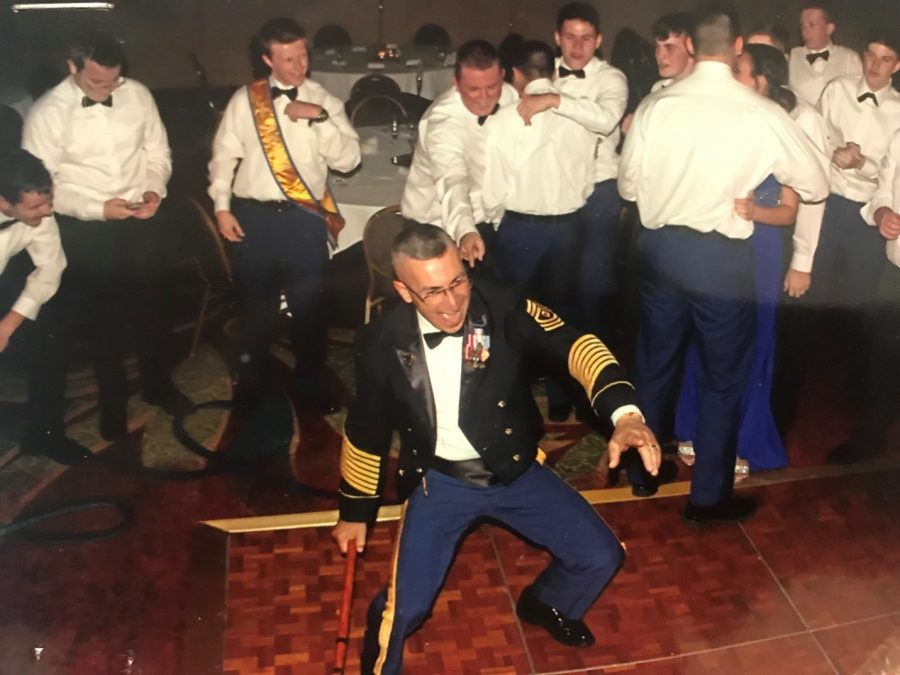 1st Sgt. Jose Vazquez does his famous dance move, the Dougie. Every year at Military Ball, Vazquez performs this.