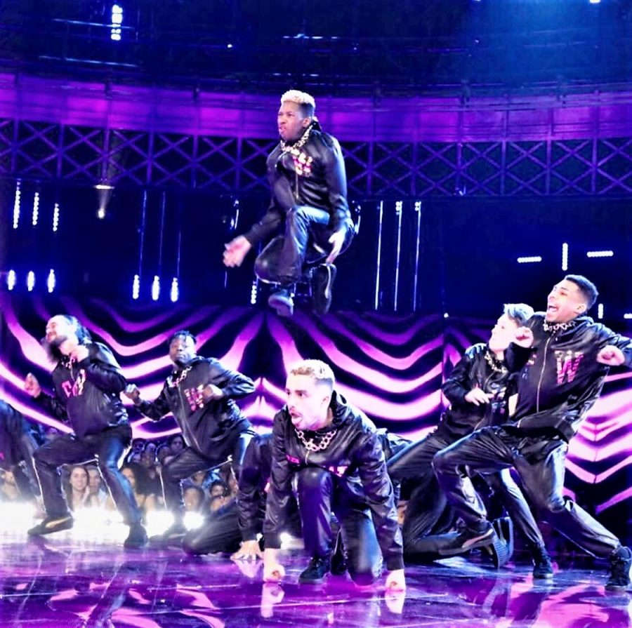 Senior+Da%27Zhaun+Hicks+is+launched+into+the+air+by+his+dance+crew%2C+the+Funkywunks.+The+crew+was+able+to+perform+on+the+television+show+World+of+Dance.+