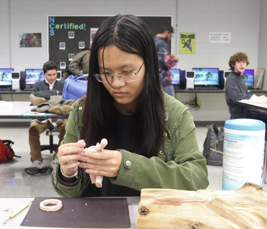 Junior Deborah Lu works on her character project for Modeling and Simulation II.