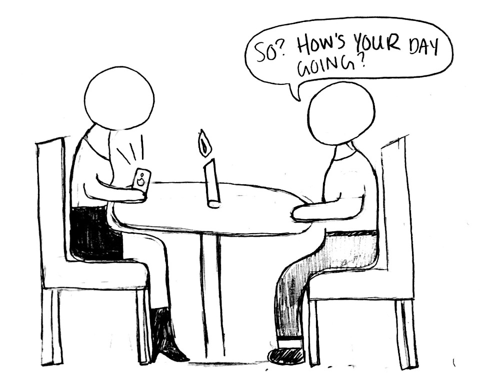 The illustration shows two people sitting at a table trying to have a conversation, but one person's phone gets in the way of that. This demonstrates how technology has affected society today.