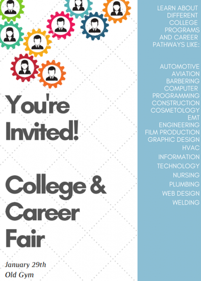 This is the invitation that was sent to students to inform them about the fair. Along the side, there are departments, schools and businesses that are visiting the fair.