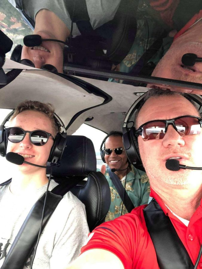 Junior Niklas Gierse goes on a flight with James Gendreau and United Captain Al Forgenie. Gierse aspires to be a pilot.