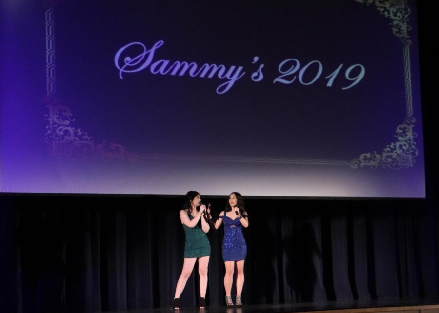 Seniors Sophia Mancia and Arden Reidy host the Sammy's. They ran a Youtube channel together and made several videos for the event.