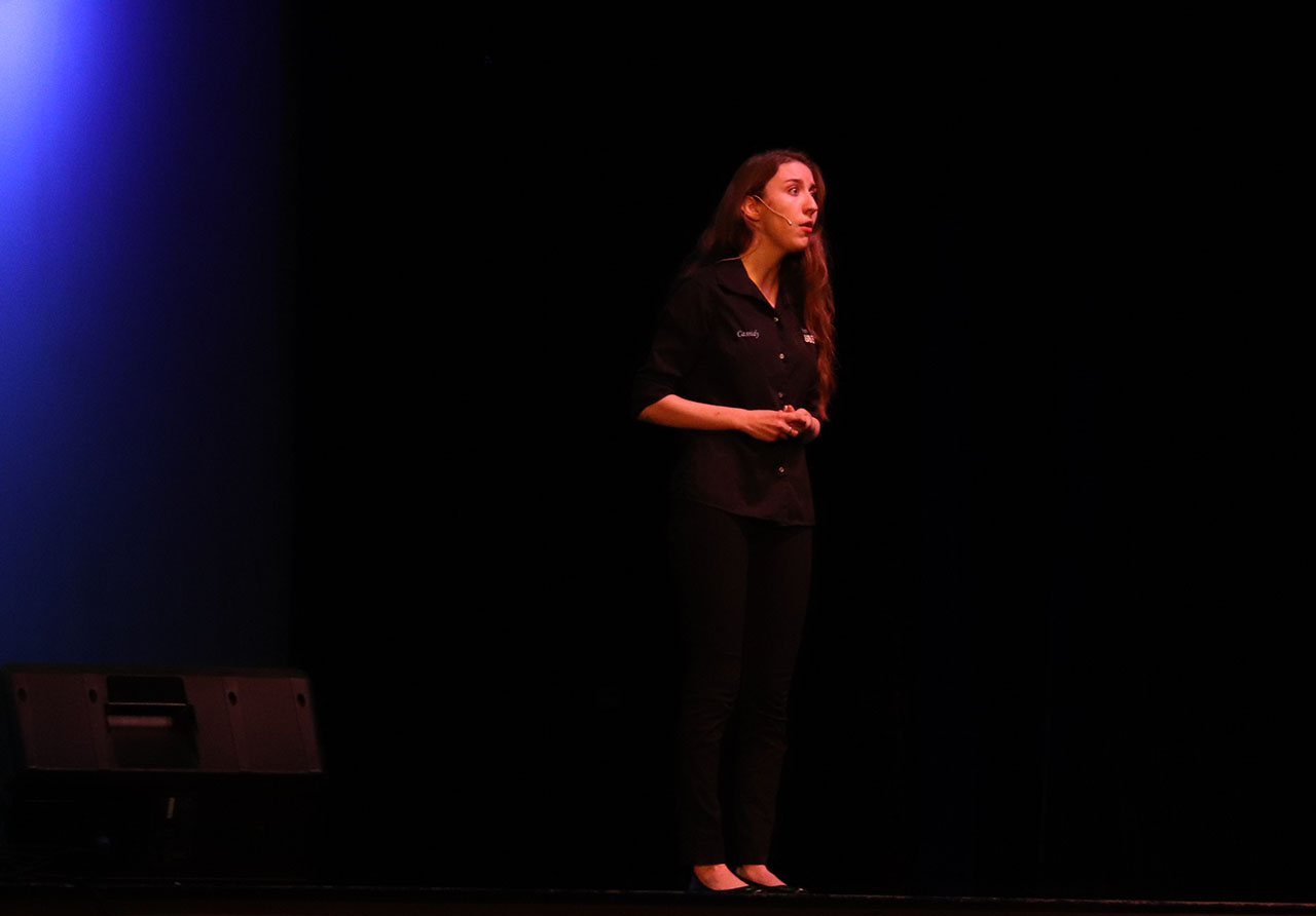 Senior Cassidy Smith sings a solo at the drama department's Caberet on May 15.