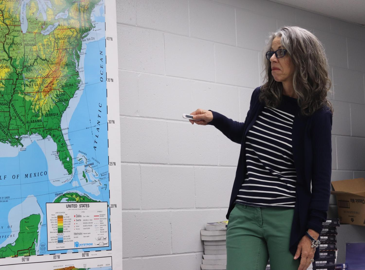 What's wrong with California?-History teacher Robin Grenz points to California on the map. She is working towards retirement and will not fulfill her position next year.