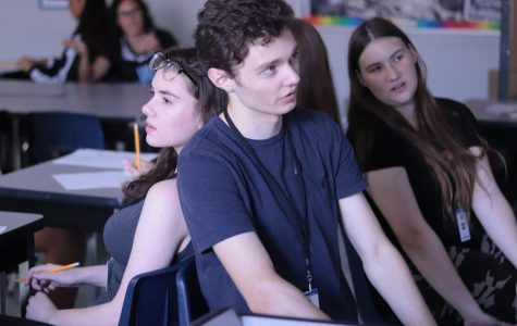 Senior Paul Handberg describes an image to Maya Pommet during a drawing activity in AP Art History.