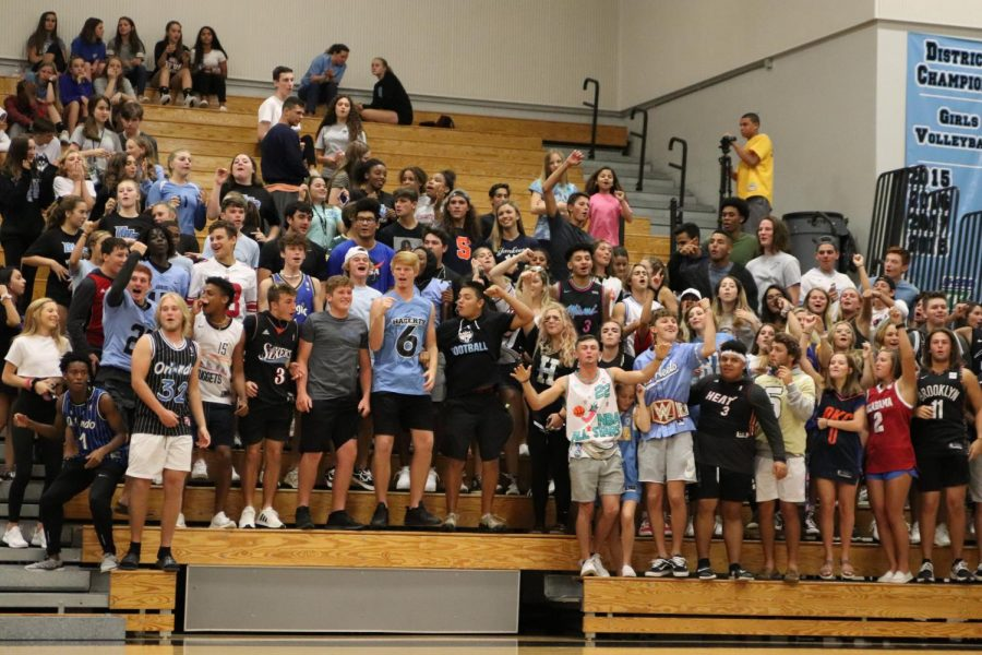 The student section gets loud for the volleyball team versus cross-town rival, Oviedo. The team won 3-0.