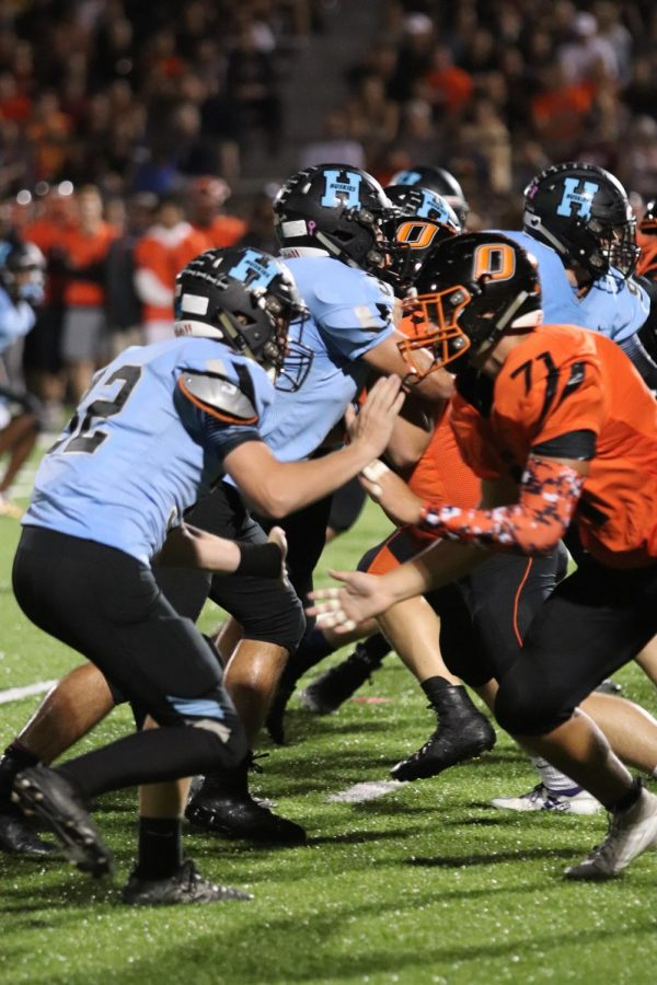 Hagertys offensive line attempts to hold off the Oviedo defensive line.